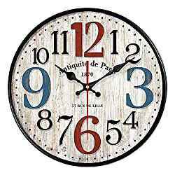 YeYo Simple European Style Wall Clock Wooden MDF Waterproof Silent Art Decor Home Living Room Office Decoration (14 inch)