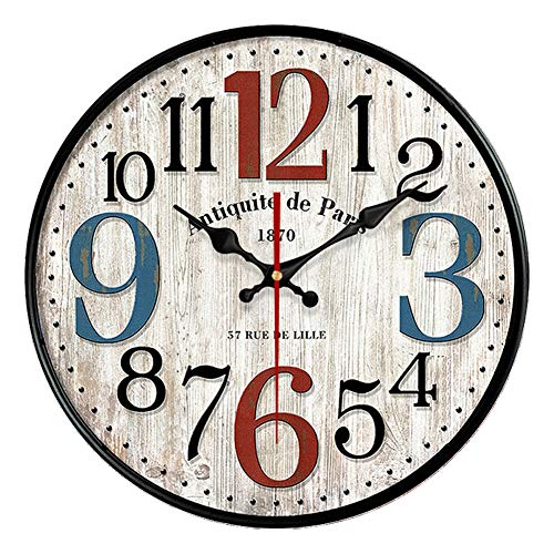 - YeYo Simple European Style Wall Clock Wooden MDF Waterproof Silent Art Decor for Home Living Room Office Decoration (16 inch)