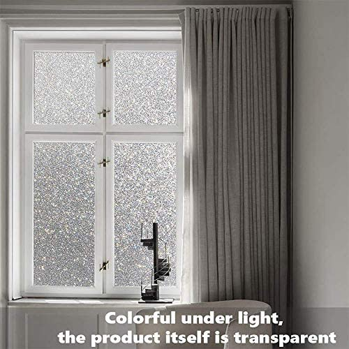 Finnez Window Film Grey Glitter Privacy Film Frosted Glass Electrostatic Self-Adhesive Obscure Privacy Protection Window Stickers Anti-UV for Home Living Room Bedroom Decoration 17.5in x 78.7in