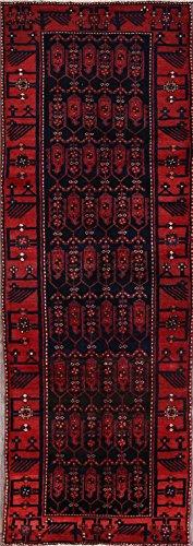 One-of-A-Kind New Nahavand All-Over Tribal Handmade 3x10 Blue Wool Persian Oriental Runner Rug (9' 9