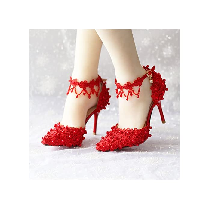 Vivioo Prom Sandals Red Lace pearl bride's Shoes super High Heel Crystal tassel wedding Shoes wristbands And Hollow Shoe Sandals 8
