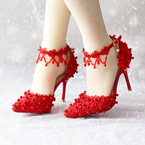 8 Pearl VIVIOO High Red Buckle Sweety Sandals Red Tassel Women'S Shoes Shoes Bracelet Heeled Crystal Bridal Shoes Lace Flower Super Prom Sandals 44qzXr1p