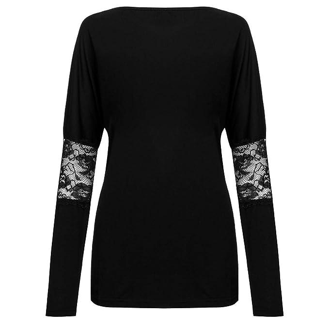 Luckycat Camiseta de Las Mujeres Primavera y Verano Encaje Otoño Manga Larga Moda Camisetas Elegante Cuello Redondo Fiesta Suelta Tops Deporte Básica Blusas ...