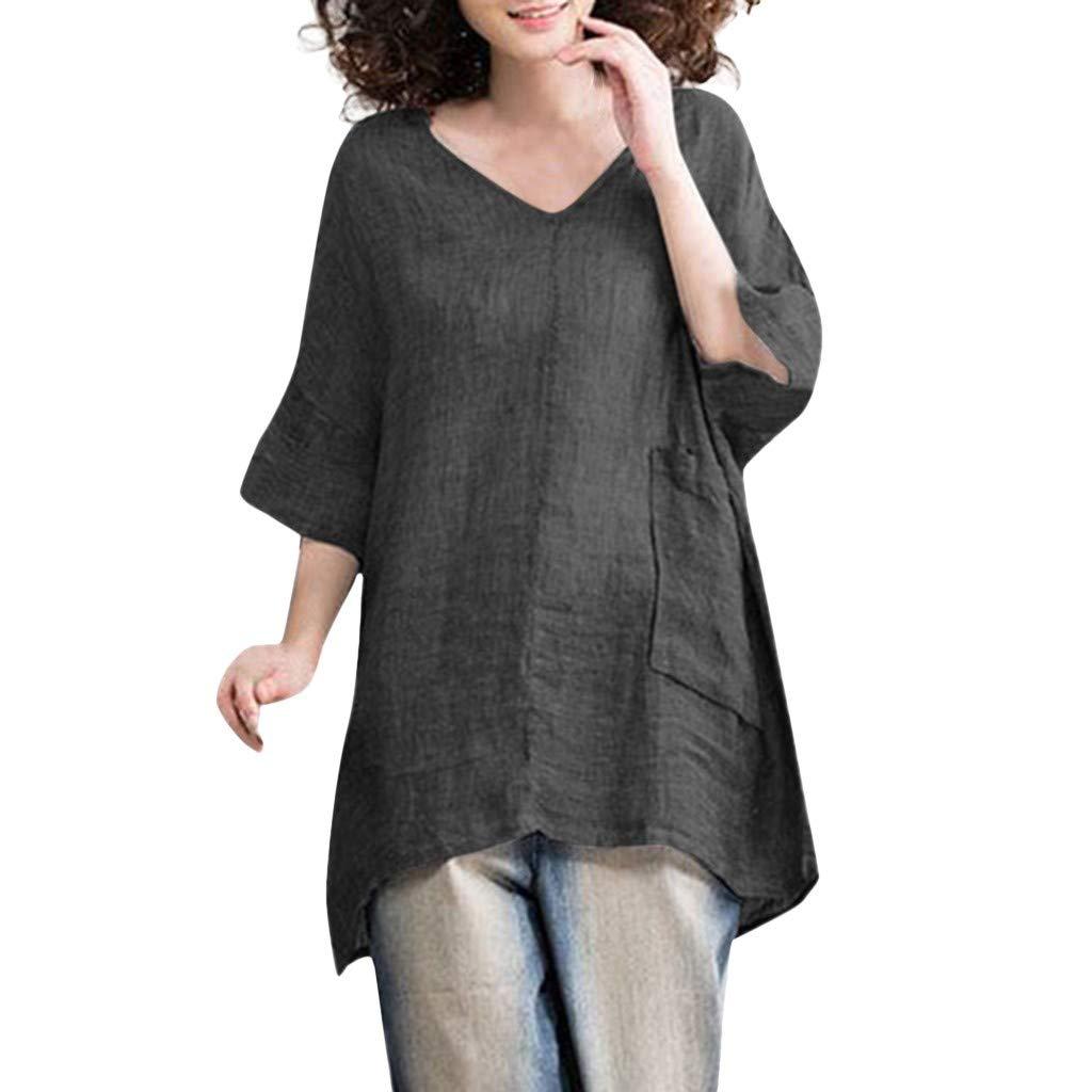 DAYPLAY Women Casual Blouse V Neck Linen Solid Shirt Boho Comfortable Loose Pocket Tops 2019 Sale Summer Gray