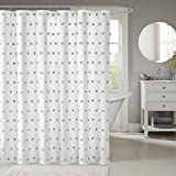 Polka Dot Shower Curtain Madison Park Sophie Fabric White Shower Curtain, Polka Dots Casual Solid Shower Curtains for Bathroom, 72 X 72, Cream