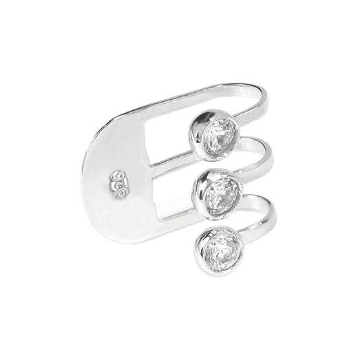 Rhodium On Sterling Silver Clear Cz Cubic Zirconia Dot Earring Cuff / Ear Cuffs Wrap 1Ur8vL