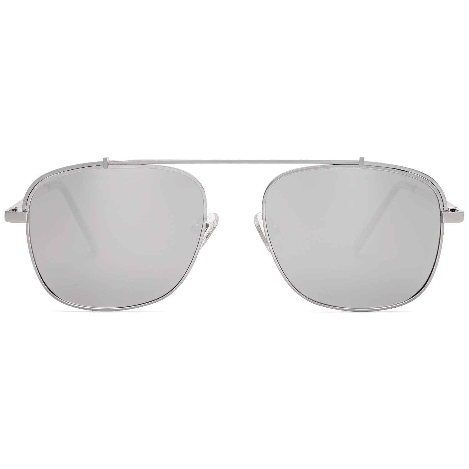 SOJOS Polarized Square Aviator Sunglasses with Spring Hinge Mirrored Lens SJ1118 with Silver Frame/Silver Mirrored Polarized Lens by SOJOS
