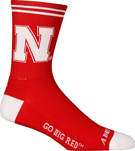 Adrenaline Promotions NCAA Nebraska Cornhuskers Cycling/Running Socks, Red, Large/X-Large ()