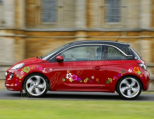 Blue Magic Design 64 Eye Catching Mixed Colour Wildflower Vinyl Stickers for Car/Window