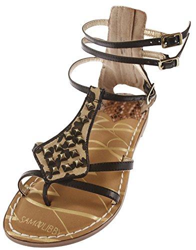 (Sam & Libby Women's Karli Tall Gladiator Sandal with Triangle Studs Black)