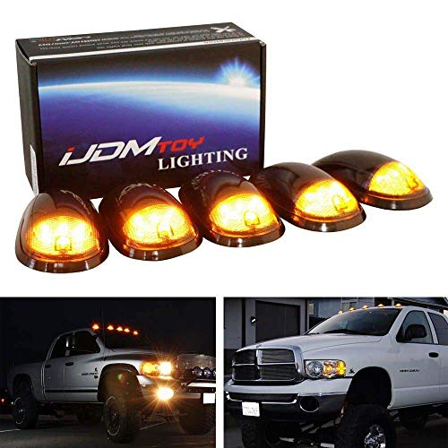 iJDMTOY Smoked Lens Amber LED Cab Roof Clearance Marker Lamps For Dodge RAM 1500 2500 3500 Ford F-Series Chevy/GMC Trucks etc, 5-Piece Roof Running Light Set (Led Cab Recon Roof)