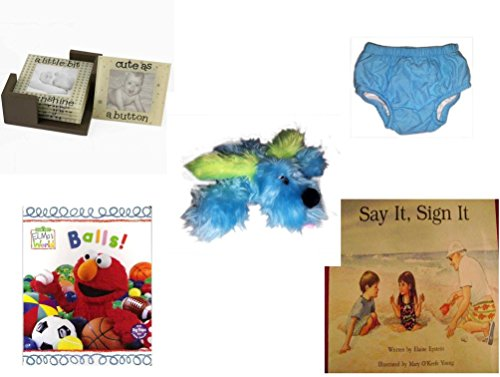 Children's Gift Bundle - Ages 0-2 [5 Piece] - Glass Photo Coasters - Circo Infant Reusable Swim Diaper Blue Size XL 24 Months 25-30 lbs - Furry Blue Dog Plush - Elmo's World First Flap-Book - Balls. by Secure-Order-Marketplace Gift Bundles