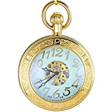 Ogle Waterproof Magnifier Skeleton Chain Gold Luminous Fob Self Winding Automatic Mechanical Pocket Watch