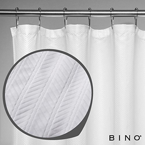 """'Herringbone' Fabric Shower Curtain - 70"""" x 72"""" - White Shower Curtain Fabric, Mildew Resistant Shower Curtains for Bathroom Shower Curtains Bathroom Curtain"""