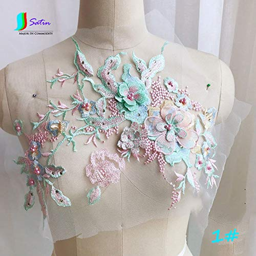 Dalab Colorful Three-Dimensional Beaded Hot Drilling Embroidery Lace Applique Dress DIY Clothing Accessories 1pc/lot S0108M - (Color: No1) ()
