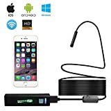 Wireless Endoscope, WiFi Inspection Camera / 1200P HD High Definition / 8 Adjustable LEDs / 8MM Caliber 5M Cable, for both Android and IOS Smart Phone, iPhone, Samsung, Tablet, PC(waterproof IP68)