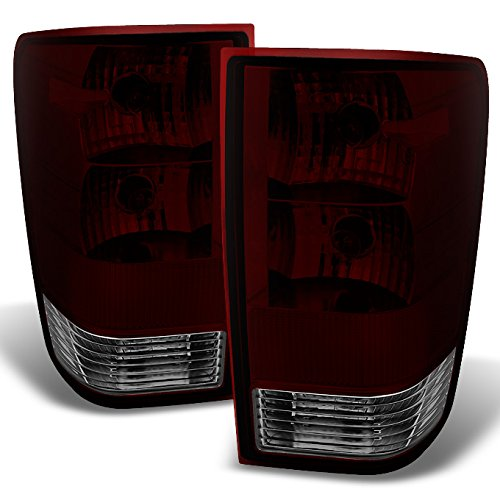 For Nissan Ttian Pickup Truck Dark Red Clear Lens Rear Tail Lights Brake Lamps Replacement Left + Right ()