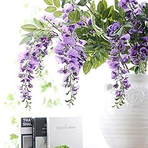 NszzJixo9 Artificial Silk Wisteria Fake Garden Hanging Flower Plant Vine Wedding Decor, Flowers Fake for Wedding Ceremony Arch Party Home Garden Deco (Purple) 5
