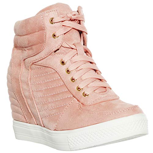 Quilted Leather Wedge - shoewhatever Women's Quilted High Top Lace Up Wedges Heels Fashion Sneakers (Blush, 6)