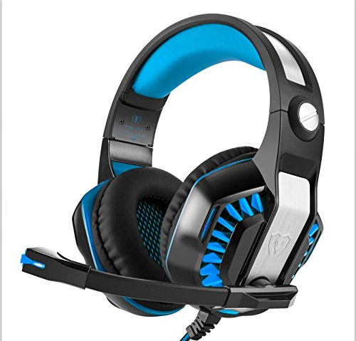 Surround Gaming Headset Earphone with Microphone, Professional Stereo Noise Cancelling, Audio Video Wired Over Ear Game Earphone, Red, Blue1