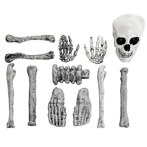 Skeleton Hands And Feet (Halloween Haunters 12 Piece Bag of Plastic Skeleton Skull Bones Prop Decoration - Scary Graveyard Human Body Parts Set - Hands, Feet,)