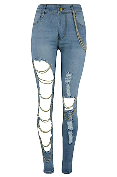 WanYang Mujeres Skinny Vaqueros del Agujero Pantalones ...