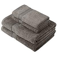 Pinzon by Amazon – Juego de toallas de algodón egipcio (2 toallas de baño y 2 toallas de manos), color gris