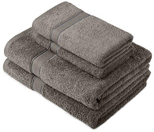 Pinzon by Amazon Lot deserviettes, 2 draps de bain et 2serviettes de bain en coton Gris