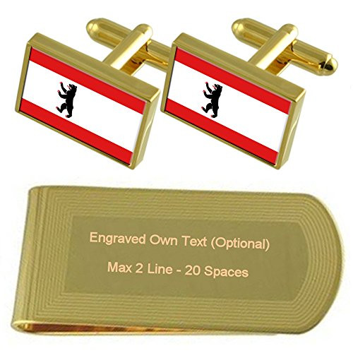 Gift tone Cufflinks Civil Engraved Set Money Berlin Gold Clip Flag qTAnv6