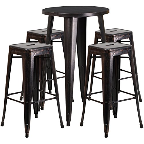 Flash Furniture 24'' Round Black-Antique Gold Metal Indoor-Outdoor Bar Table Set with 4 Square Seat Backless Stools