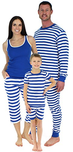 SleepytimePjs Blue Stripe Family Matching PJ's, Men's Long sleeve &