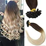 Sunny Ombre U Tip Hair Extensions 18inch -Remy U tip Dark Brown to Bleach Blonde Ombre Tip in Hair Extensions,Col #4/613,1g/s,50gram/pack
