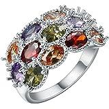 Fashion Women 925 Silver Topaz Gemstone Man Wedding Engagement (7)