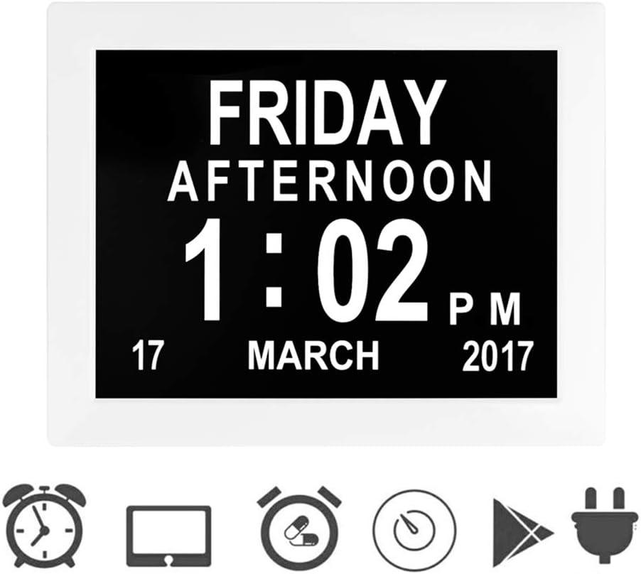 Febelle Marco Reloj Digital Calendario para Fotos Vídeos música para Ancianos y Pacientes 8 Opciones de Alarmas y Recordatorios de Medicamentos (Blanco)