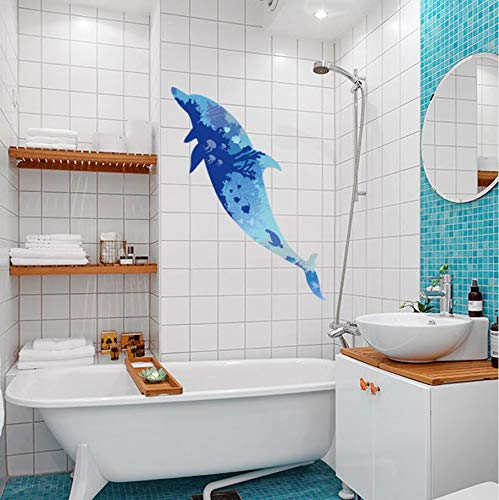 TWJYDP Wall Stickers Wallsticker Blue Marine Chart Bathroom Waterproof Underwater Coral Dolphins Overlay Fish Tank Decorative Stickers Vinyl Mural Finished Size 60X150Cm (Plastic Overlay Chart)