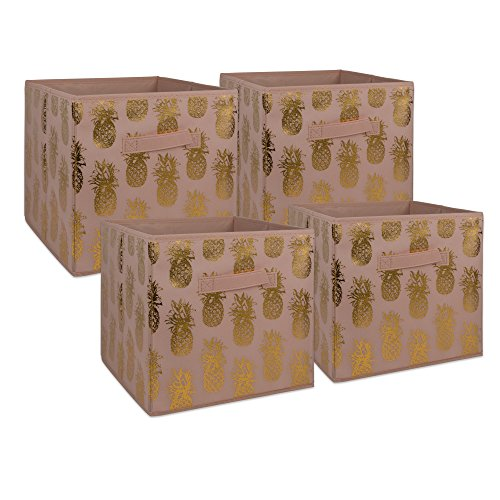 DII Non-Woven Fabric Storage Bins With Removable Bottom, Small (4), Pink/Gold, 4 Piece from DII