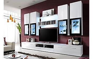 meuble tv design laqué blanc avec led - marbella: amazon.fr ... - Meuble Tele Design Laque Blanc
