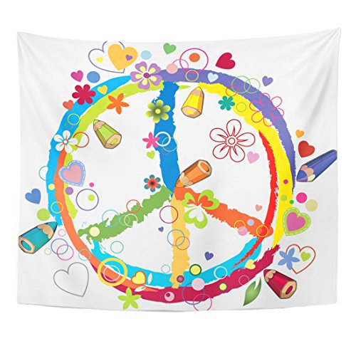 TOMPOP Tapestry Colorful Peace Pacific Floral Freedom