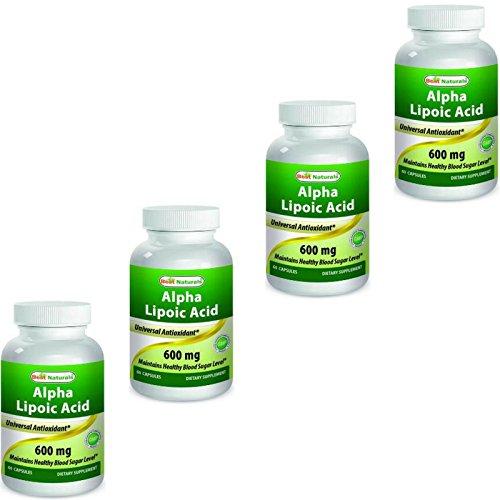 Best Naturals Alpha Lipoic Acid 600mg ALA Powerful Antioxidant (60 Capsules) (Pack of 4)