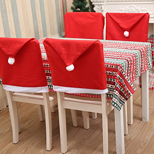 Style 4PCS Santa Hat Chair Covers Chair Back Decoration Christmas Festive Home Dinner Table Kitchen Party Decor