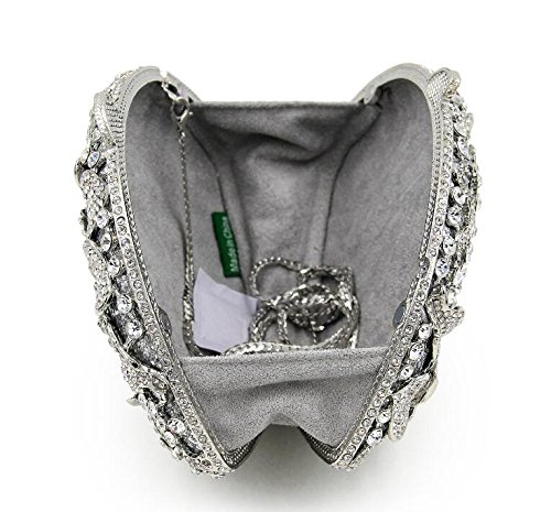 Purse Flower Rhinstone Bags Cross Totes Body Women Bag Clutche Handbag Banquet Slive Crystal Evening 0fCpwxq4