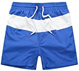 Pcutrone Mens Drawstring Elastic Contrast Quick Dry Sport Board Shorts Jewelry Blue 2XL