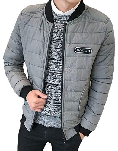 Sleeve Full Grey Long Bomber Warm Zip Mens TTYLLMAO Overcoat Jacket Outdoor wF1qxgv
