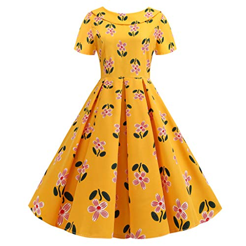(Sunhusing Ladies Cute Doll Neck Small Floral Flower Print Zipper Dress Backless Bow Large Swing Pleated Dress Yellow)