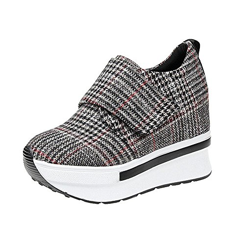 Outdoor Running Casual Brown Thick Platform Women Sneakers Grey Black Wedges Female Hiking Soles Shoes Shoe Fashion pxwqX1XFz