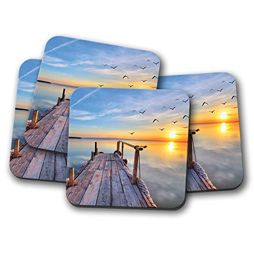 - 4 Set - Beautiful Pier Sunset Coaster - Sea Ocean Beach Holiday Cool Gift #14125