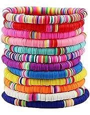 SCFBA 12 PCS Bracelets for Teenage Girls Womens,Handmade Bohemian Bracelets,Colorful Soft Clay Bracelets for Women Summer Beach Bracelets Soft Pottery Boho Jewelry
