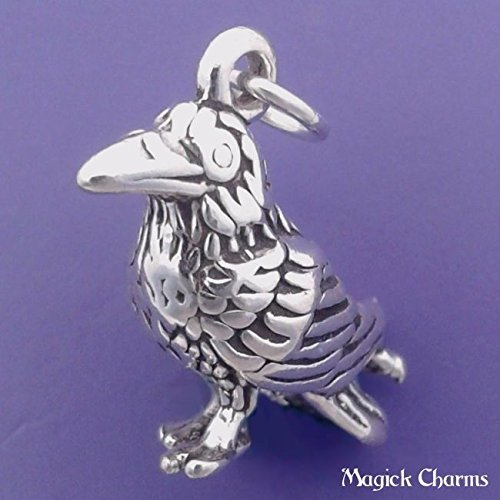 925 Sterling Silver 3-D Raven Crow Halloween Bird