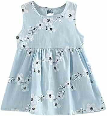 25ae83bd4ee VEZAD Girls Print Sleeveless Dress Print Bowknot Tutu Summer Dresses 2-7T