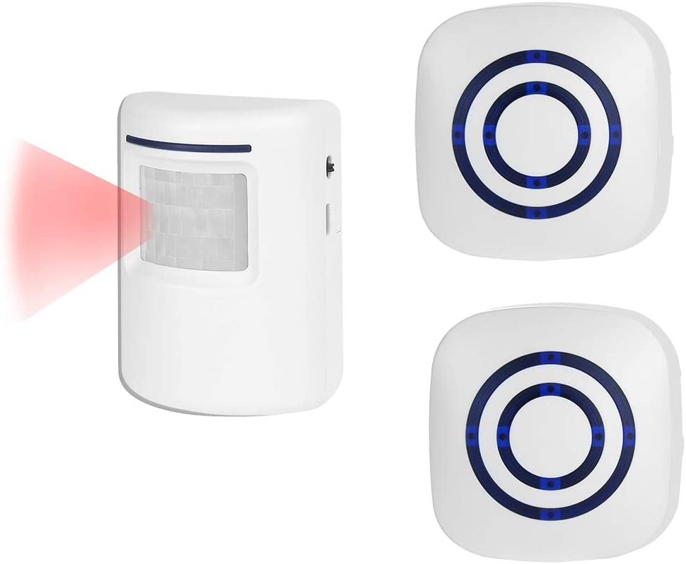 Motion Sensor Alarm Detector Alert for Home Security Outdoor, 2 Plug-in Receivers with 1 IR Motion Alarm
